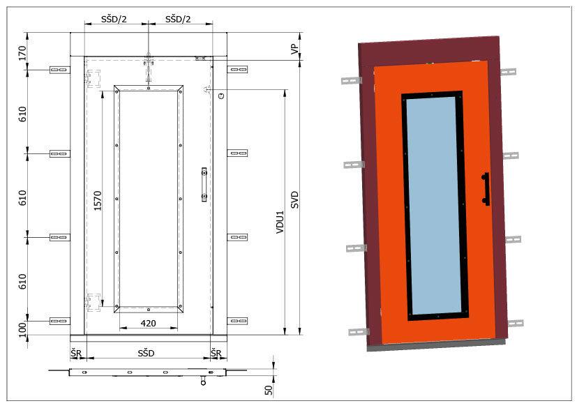 Šachetní výtahové dveře Typ D