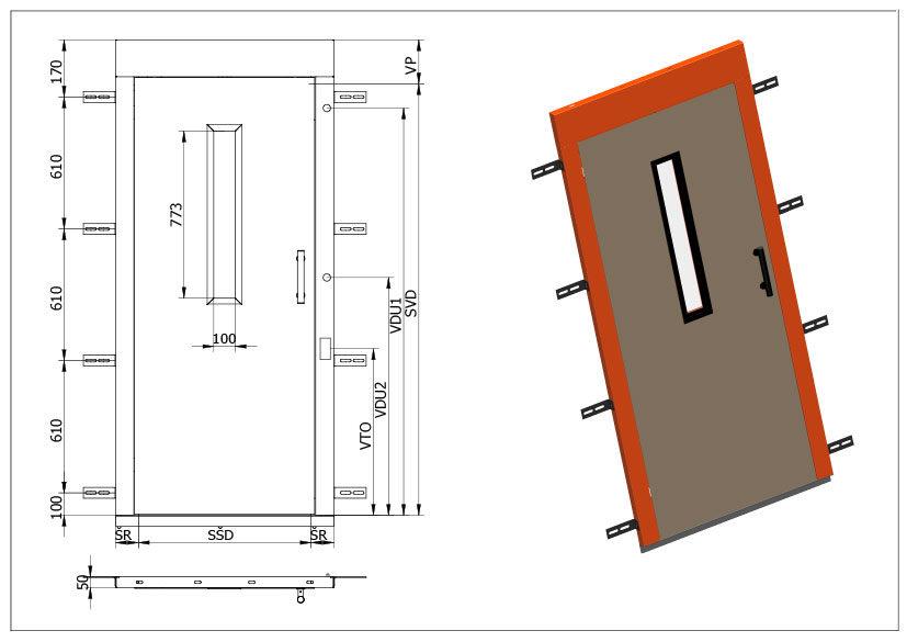Šachetní výtahové dveře Typ S