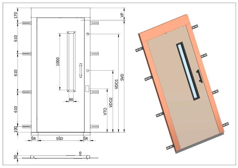 Šachetní výtahové dveře Typ U